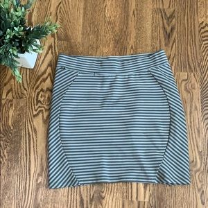 Toad&Co Olive Green Grey Striped Short Skirt